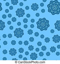 Winter blue background with snowflakes seamless vector