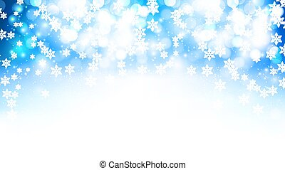 winter blue bokeh background with falling snowflakes