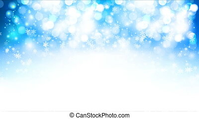 Winter blue bokeh background with falling snowflakes, art video illustration.
