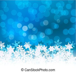 Winter blue bokeh xmas background with snowflakes. Christmas bokeh holiday decoration for greeting card