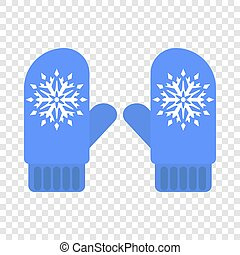 Winter blue gloves icon, flat style