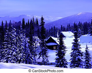 Winter blue twilight in the mountains