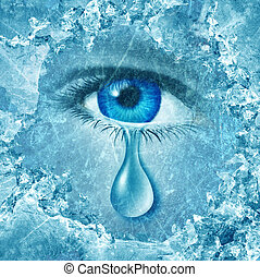 Winter blues seasonal affective disorder or depression and cold grey season lonesome anxiety and emotional crisis concept as a human eyeball crying a tear behind layers of ice as a metaphor for sadness.