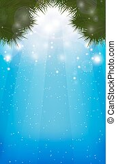 Winter blurred background with  Christmas-tree branches, sparkles and rays for postcards, flyers, and your design