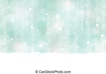 Winter bokeh background seamless horizontally - Abstract...