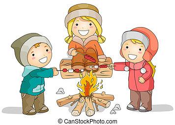 Winter Bonfire - Illustration Featuring Kids Roasting...