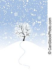 winter boom, op, heuvel, voor, jouw, ontwerp