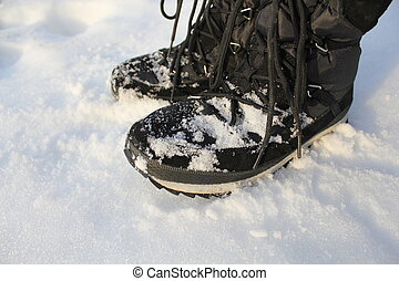 Winter Boots On Snow