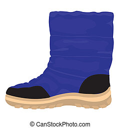 Winter boots on white background