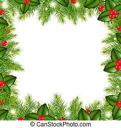 Winter Border With Christmas Tree And Holly Berry, Isolated...