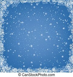 Winter Border With Snow And Blue Background