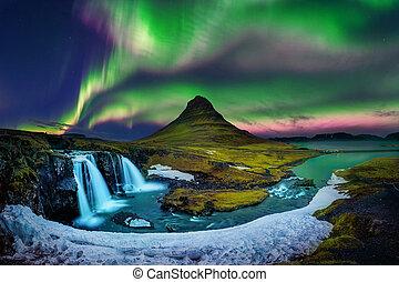 winter., borealis, noordelijk, kirkjufell, dageraad, iceland., licht, bergen