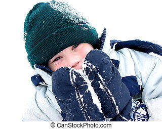 Winter boy fun - Young boy playing in snow