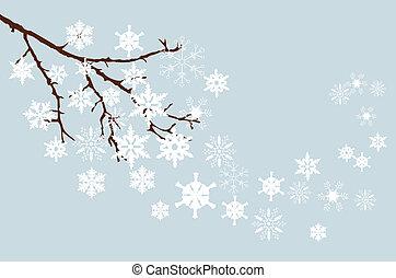 winter branch - vector snow branch