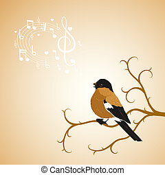 Winter bullfinch bird tweets on a tree branch - Winter ...
