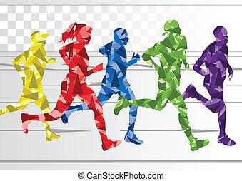winter, bunte, silhouetten, läufer, hintergrund, marathon