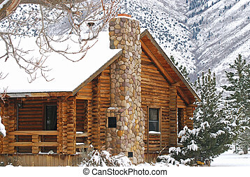 Winter Cabin - Cabin hidden in the mountains during a winter...