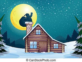 Winter cabin - Illustration of a winter christmas scene