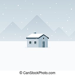 Winter cabin landscape