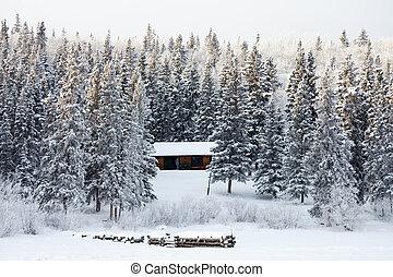 Winter cabin on frozen lake shore