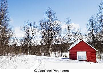 winter, cabine