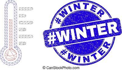 #winter, cachet, maille, bleu, toile, température, détresse