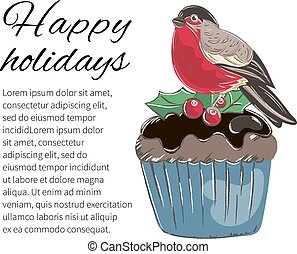 WINTER CAKE Merry Christmas Cartoon Vector Illustration Set
