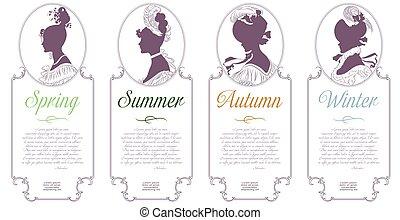 winter., cammeo, primavera, autunno, quattro, disegno, femmina, seasons., estate