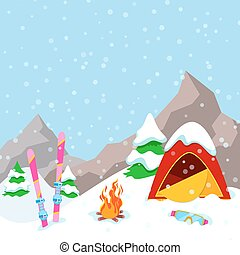 Winter Camp Mountains Landscape with Tent, Fireplace and Skiing Equipment