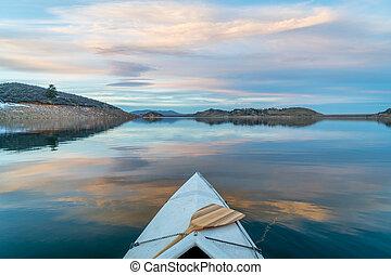 winter canoe paddling in Colorado - Horsetooth Reservoir ...