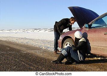 Winter Car Breakdown - A couple are stranded at side of...