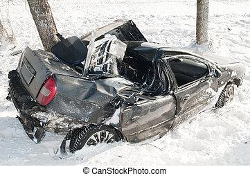 winter car crash accident