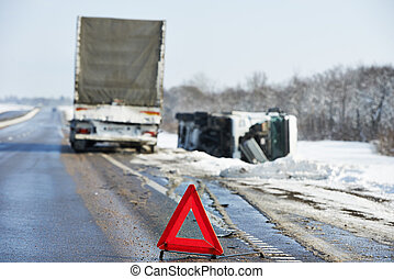winter car crash - Lorry trailer car crash smash accident on...