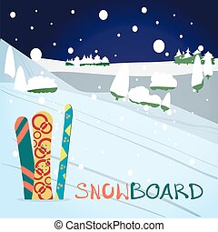 Winter card background. Mountains, snowboards in the snow