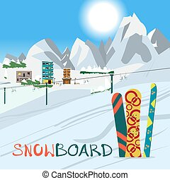 Winter card background. Mountains, snowboard and ski equipment i