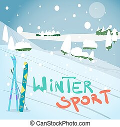 Winter card background. Mountains, snowboard and ski equipment in the snow