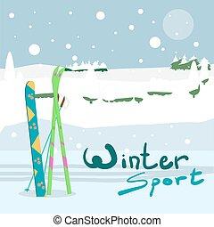 Winter card background. Ski run track, snowboard and ski equipment in the snow