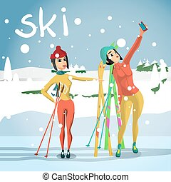 Winter card background. Ski run track, young woman photographed with sports equipment. Flat cartoon vector illustration
