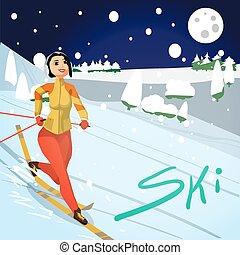 Winter card background. Ski run track, young woman running. Flat cartoon vector illustration