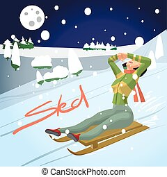 Winter card background. Woman rolling downhill on a sled. Flat cartoon vector illustration