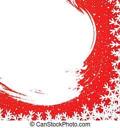 Winter card template for Christmas, New Year and other winter holidays with snow and flakes