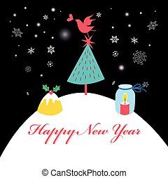 Winter card with Christmas tree