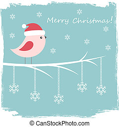 Winter card with cute bird and snowflakes
