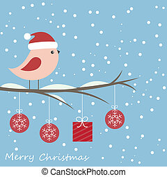 Winter card with cute bird