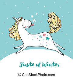 Winter card with cute unicorn and snowflakes.