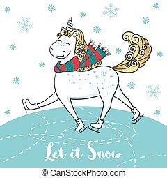 Winter card with cute unicorn on skates.