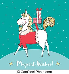 Winter card with cute unicorn-santa and gifts.
