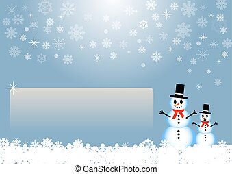 Two smiling snowmen are standing in white snow flakes next to an empty chalkboard ready for your text. The background is in trendy blue gradient with transparent snowflakes, stars and light in the middle of the top edge of the vector.