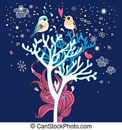 winter card with enamored birds