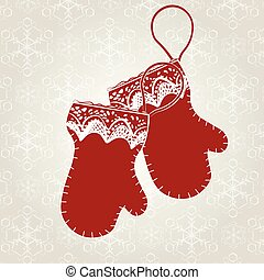 Winter card with gloves